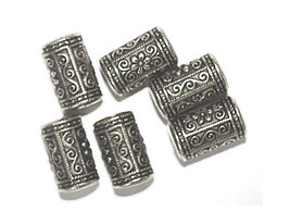 15mm Eastern Decorative Column Antiqued Goldtone Metalized Metallic Beads - $6.47