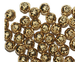 9mm Round Rosebud Bright Goldtone Metalized Metallic Beads - $6.47