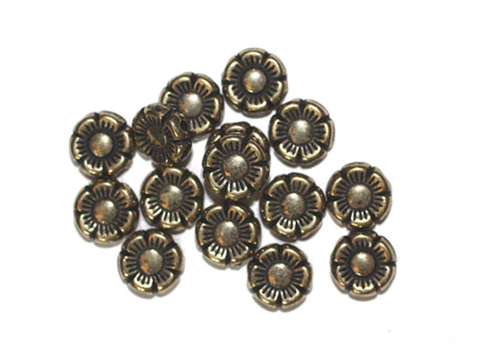 Primary image for 10mm Tudor Rose Flower Antiqued Goldtone Metalized Metallic Beads