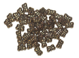 5x8mm Delicate Butterflies Antiqued Goldtone Metalized Butterfly Beads - $6.47