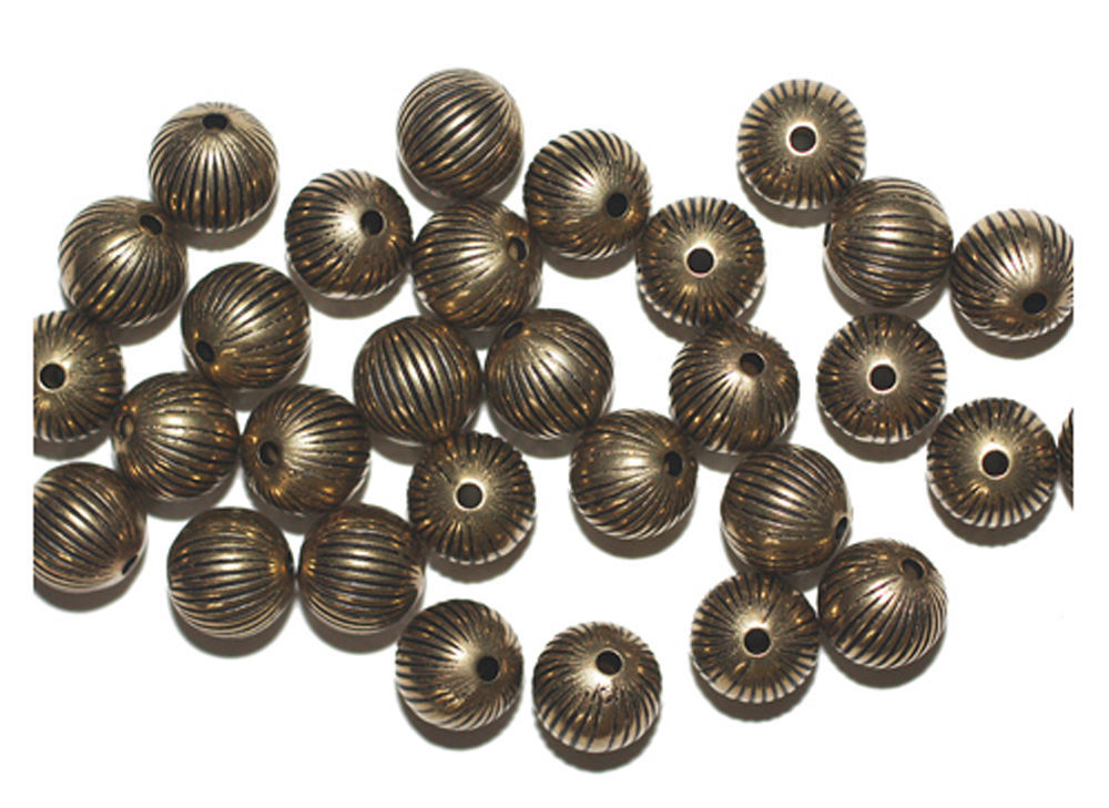Primary image for 9mm Round Onion Antiqued Goldtone Metalized Metallic Beads