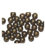 10mm Round Tudor Flower Round Antiqued Goldtone Metalized Metallic Beads - $6.47