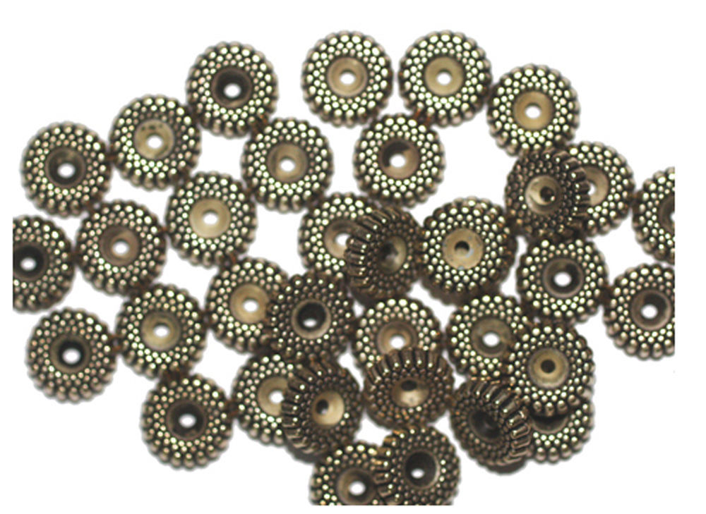 Primary image for 10mm Ripple Antiqued Goldtone Metalized Metallic Beads