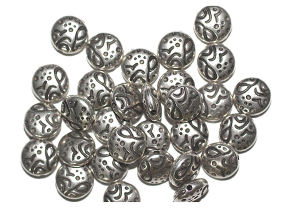 Primary image for 10mm Lentil Crater Antiqued Silvertone Metalized Metallic Beads