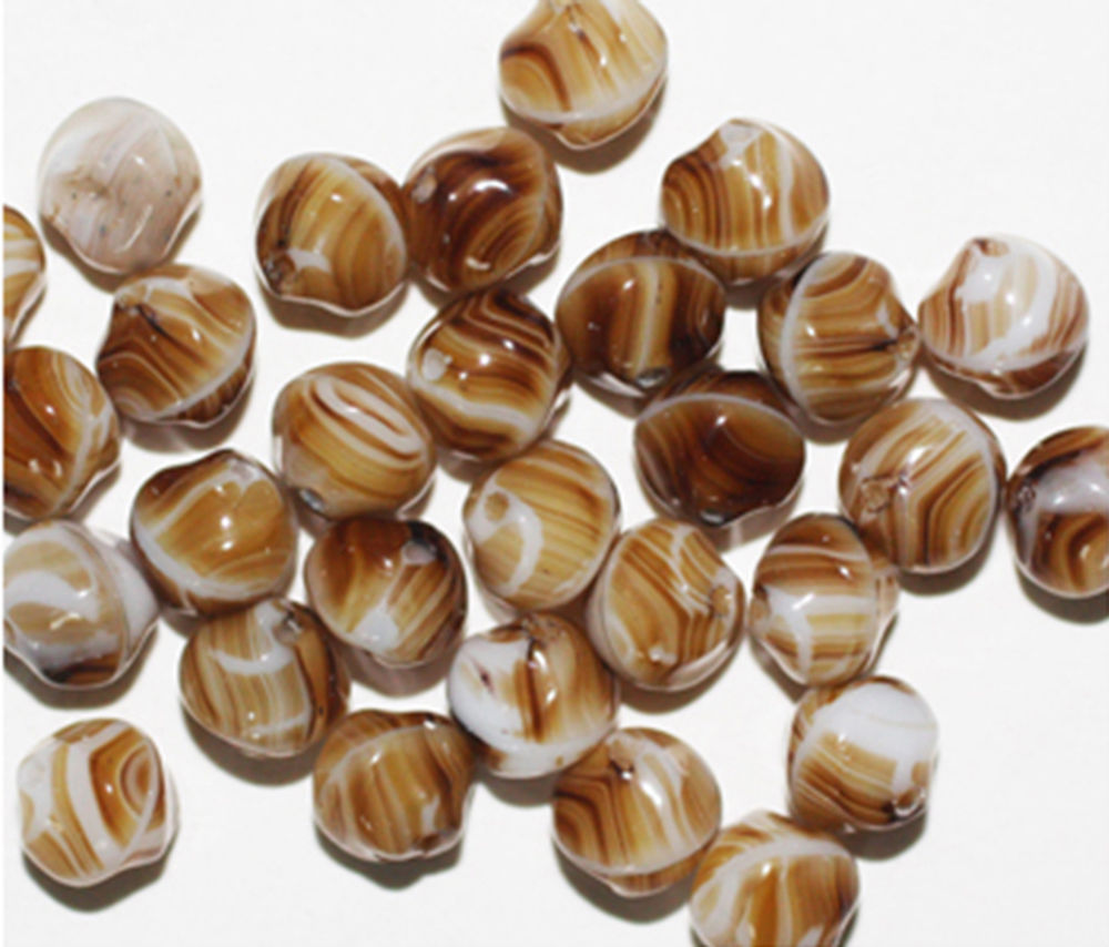 Primary image for Brown Swirl Nugget Czech Pressed Glass Beads 8mm (pack of 30)