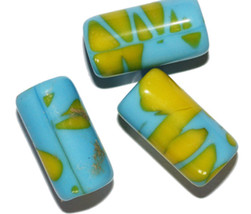 Turquoise Party Bead Czech Pressed Glass Beads 22mm (pack of 3) - $6.47