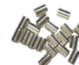 10mm Tube Cylinder Bright Silvertone Metalized Metallic Beads - $6.47