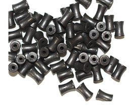 Dogbone 4x6mm Gunmetal Gray Pewter Color Metalized Metallic Beads - $6.47