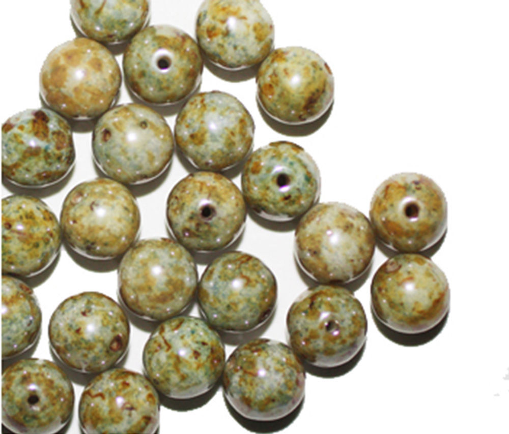Primary image for Green Luster Picasso Round Czech Pressed Glass Beads 8mm (pack of 30)