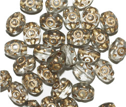 Gray Gold Oval Czech Pressed Glass Beads 8mm (pack of 30) - $5.97