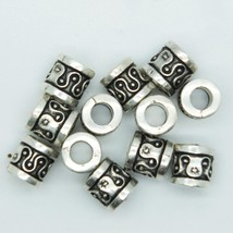 Embossed Short Pillar Tube Bead 7mm Metalized Large Hole Antiqued Silver... - $5.95