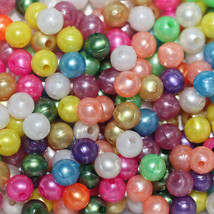 PEARL 6mm BEADS ~ Pearly SPRING Mix ~ (Yellow Orange Pink Green Blue White) - $4.97