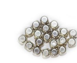 8mm Cornerless Square Bevel Cube Bright Silvertone Metalized Metallic Beads - $6.47