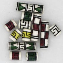 Peruvian Bead Mix Hand Painted Glazed Petite Tube Mix 6 pairs (12 beads) - $8.47