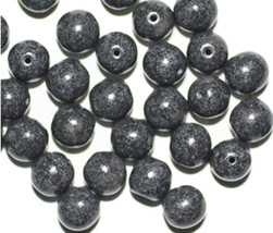 Speckle Gray Picasso Round Czech Pressed Glass Beads 8mm (pack of 30) - $6.47
