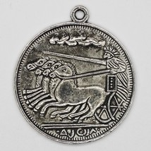 Horses and Chariot Coin Charms Tibet Design Silver Metal 28mm Pack of 2 - $7.98