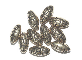 20mm Decorative Oval Melon Antiqued Goldtone Metalized Metallic Beads - $6.47