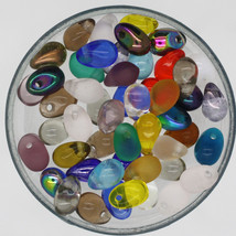 Raindrop Teardrop 6mmx 4mm Czech Glass Bead Mix Assorted Colors & Finish... - $6.47