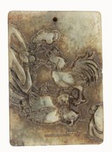Roosters Cocks Carved Relief Stone Pendant Asian Design for Jewelry - $14.97
