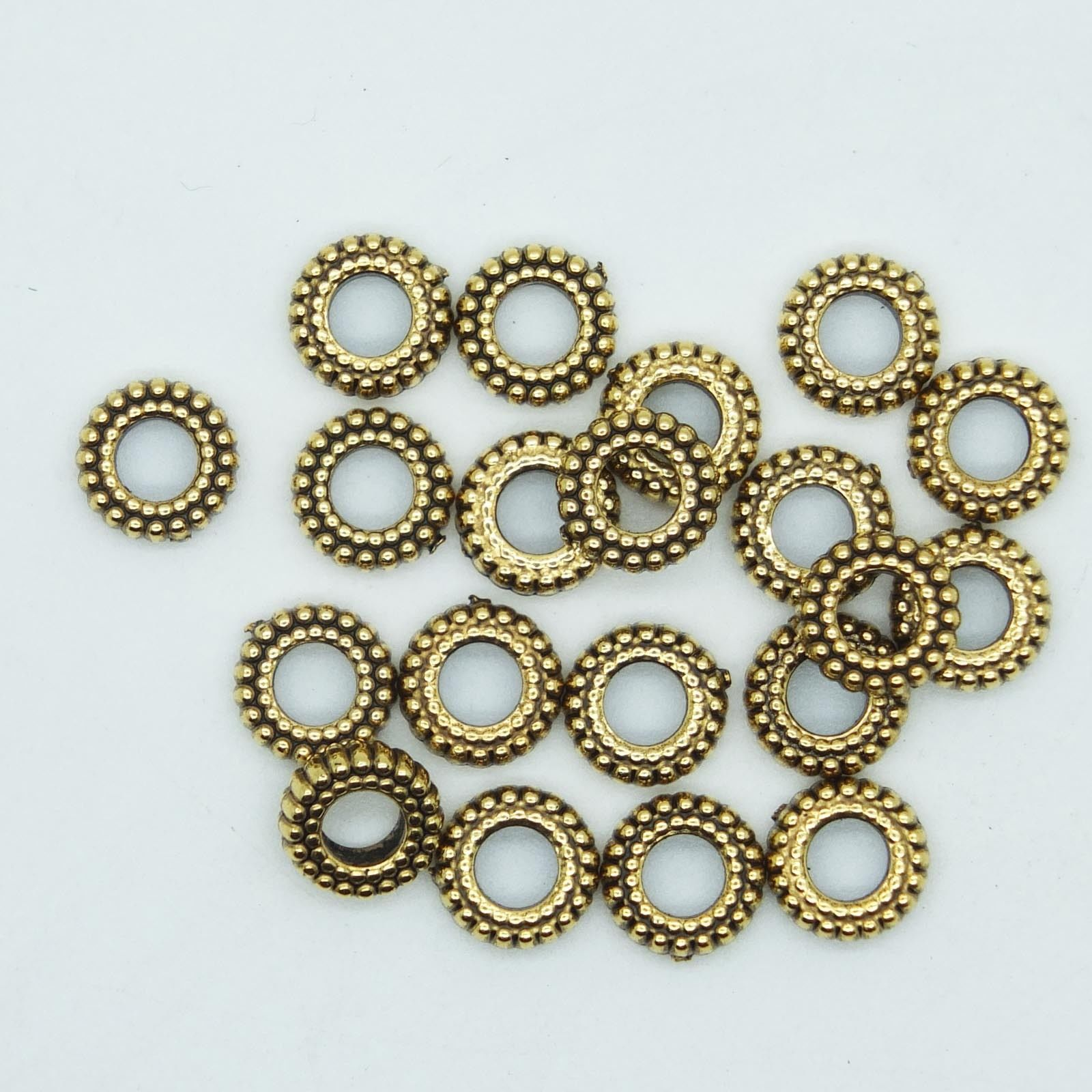 Primary image for Tire Ripple Disc Ring Spacer Bead 8mm Metalized Large Hole Antiqued Gold pk/20