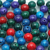 6mm Colored Fossil Stone Bead Mix - $9.00