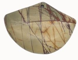 Brown Veins Fan Polished Stone Pendant for Necklace Ornament Keepsake - $14.97