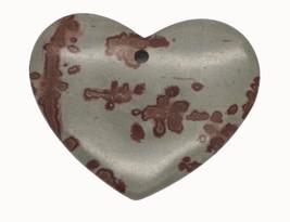 Beige Brown Splatttered Heart Polished Stone Pendant for Necklace Keepsake - $14.97