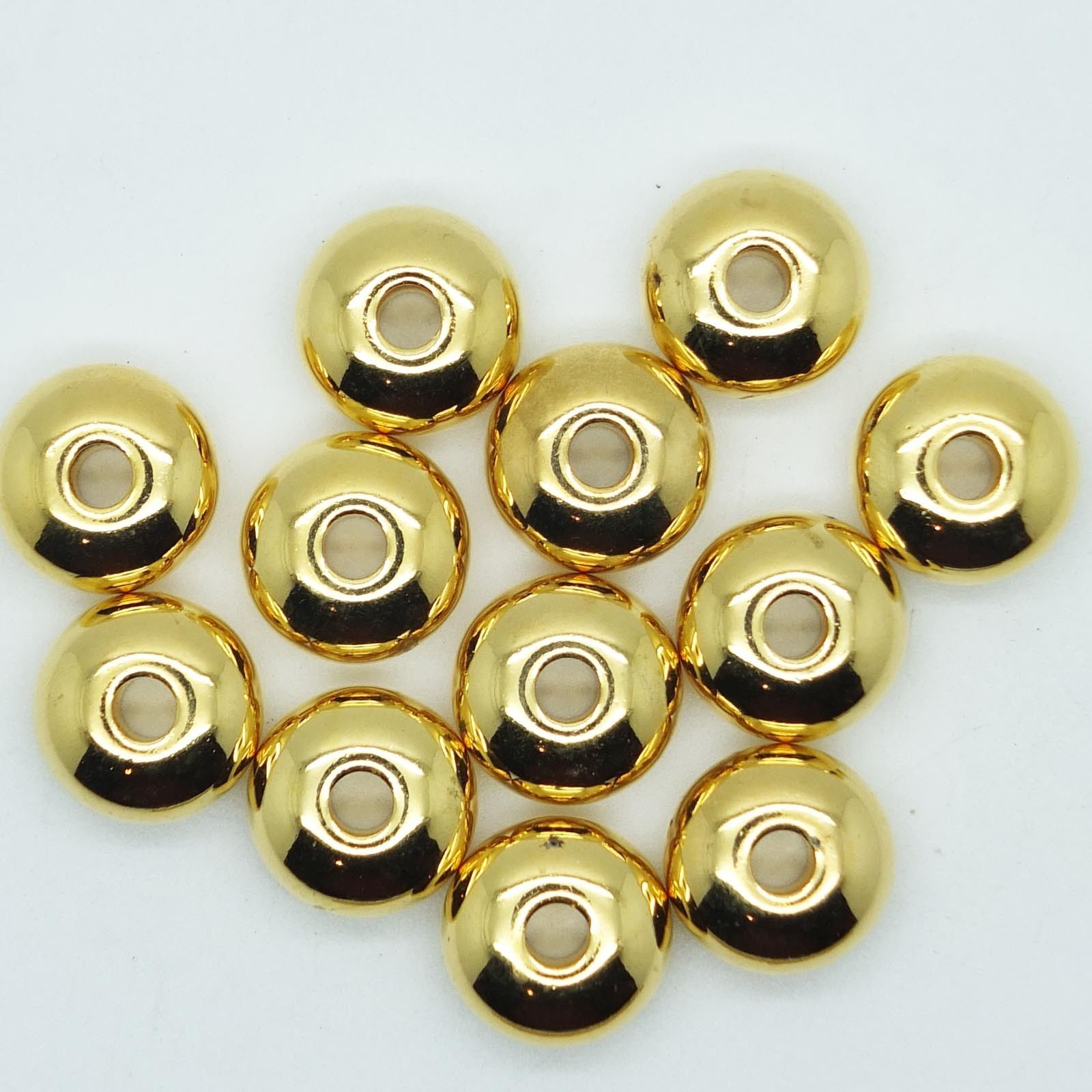 Primary image for Cushion Donut 14x8mm Metalized Large Hole Beads Bright Gold Finish pk/12