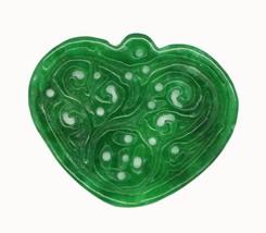 Green Heart Carved Relief Stone Pendant Asian Design Ornament Keepsake - $14.97