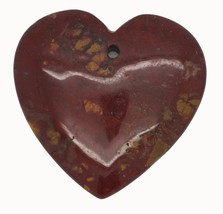 Brown Flat Heart Polished Stone Pendant for Necklace Ornament Keepsake - $14.97