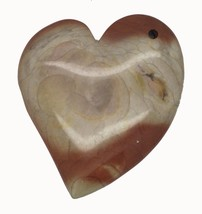 Brown Swirl Heart Polished Stone Pendant for Necklace Ornament Keepsake - $14.97