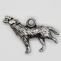 Howling Wolf Dog Pendant Charm Tibet Design Silver Metal 10x20mm Pack of 5 - $5.98