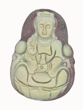 Buddha Hand Carved Stone Pendant Asian Design for Necklace Ornament Keep... - $14.97