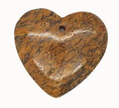 Brown Mottled Puff Heart Polished Stone Pendant for Necklace Ornament Ke... - $14.97
