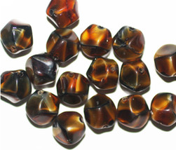 Tiger Eye Nugget Czech Pressed Glass Beads 10mm (pack of 16) - $6.47