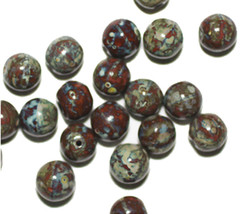 Red Green Picasso Round Czech Pressed Glass Beads (pack of 20) - $6.47