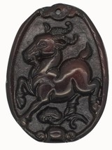 Prancing Horse Carved Relief Stone Pendant Asian Design for Jewelry - $14.97
