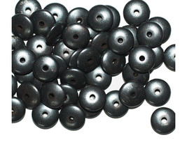 Flat Rondelle 3x8mm Gunmetal Gray Pewter Color Metalized Metallic Beads - $6.47