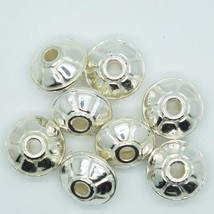 16mm Wagon Wheel Metalized Large Hole Beads Bright Silver Finish pk/8 - $5.95