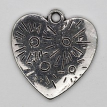 Heart Flat Rustic Embossed Pendant Charm Tibet Design Silver Metal 20mm ... - $4.98