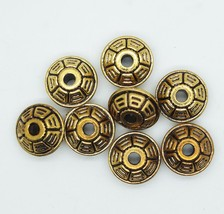 16mm Wagon Wheel Metalized Large Hole Beads Antiqued Gold Finish pk/8 - $5.95
