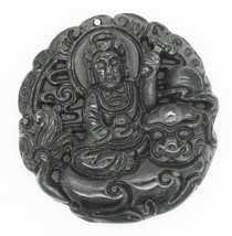 Buddha Hand Carved Relief Stone Pendant Round Relief - $14.97