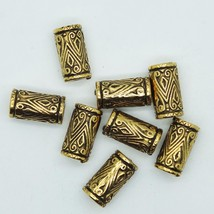 Embossed Column Tube Bead 18mm Metalized Large Hole Antiqued Silver Fini... - $5.95