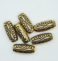 Floral Tube Bead Decorative 25mm (one inch) Antiqued Gold pk/6 - $5.96