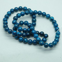 6mm Turquoise Blue Fossil Stone Gem Beads - $9.00