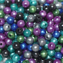 PEARL 6mm BEAD MIX ~ Pearly Peacock ~ (Green Blue Purple Teal Silver) Pk/100 - $4.97