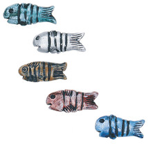"""FISH BEADS 35mm (1.25"""") CLAY BEAD Handmade PAINTED pink blue brown silve... - $5.98"""