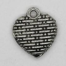 Basketweave Heart Charm Pendant Tibet Design Silver Metal 10mm Pack of 6 - $5.98