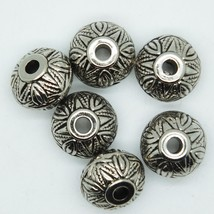 Floral Tub Donut Bead 18x12mm Metalized Large Hole Antiqued Silver Finish pk/6 - $5.95