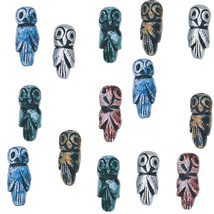 """OWL BEADS 22mm (7/8"""") CLAY BEAD Handmade PAINTED pink blue brown silver ... - $5.98"""